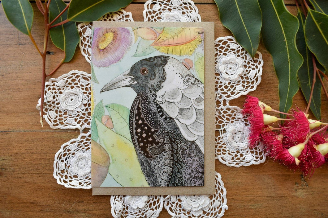 Greeting Card - Magpie - Zinia King-Homewares-Atelier Crafers