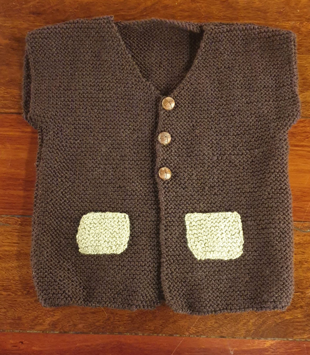 Hand knitted Vest Fits 1-2 years - Dark brown with fawn pockets-Children-Atelier Crafers