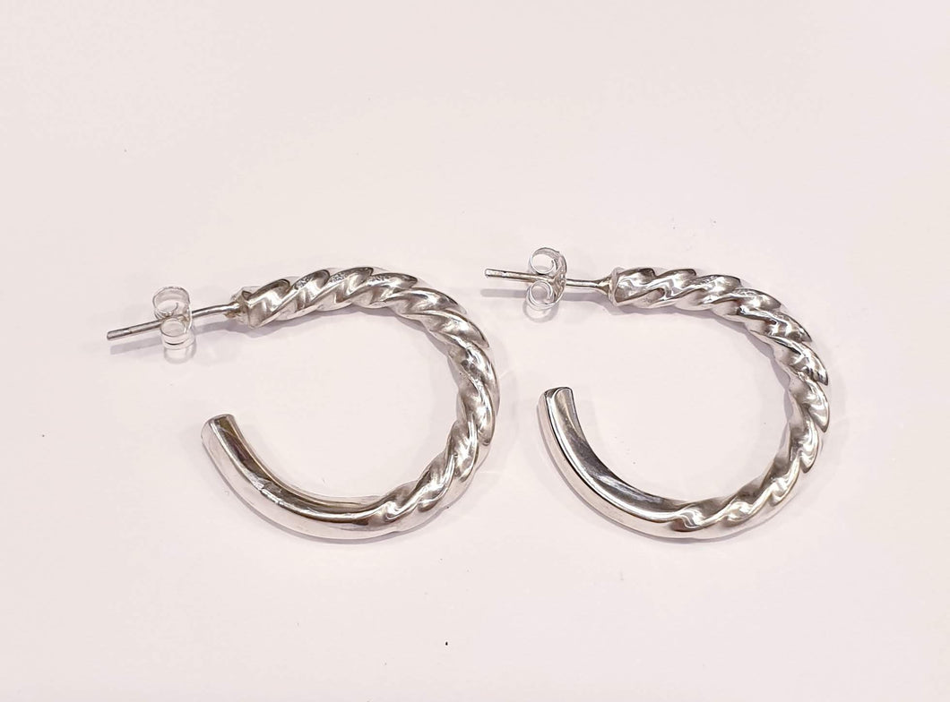 Vintage Russian Silver Twisted Hoop Earrings by Silver Rose Jewellery-Jewellery-Atelier Crafers