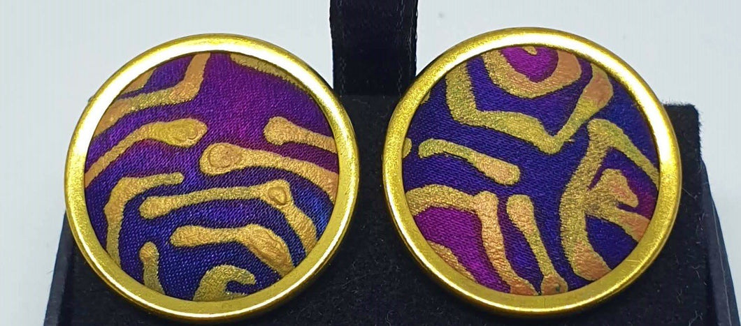 Gold rimmed round hand painted silk clip on earrings-Jewellery-Atelier Crafers