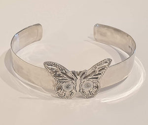 Vintage Sterling silver cuff with butterfly - Silver Rose Jewellery