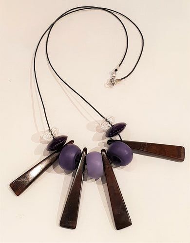 Upcycled brown and purple wooden beaded necklace-Jewellery-Atelier Crafers