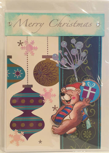 Christmas Card - Handmade - Merry Christmas -  Teddy Bear and Baubles - Kaye Esplin