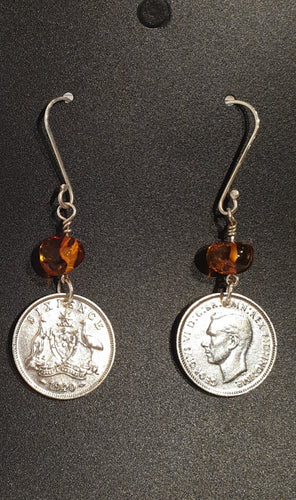 Genuine 1940 Sixpence and Amber Earrings