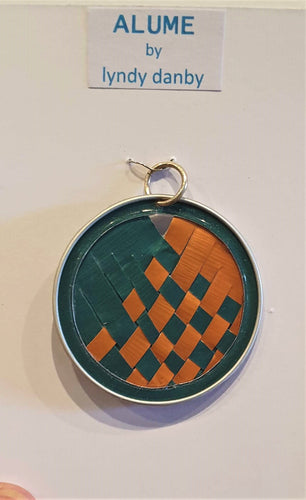 Emerald and Orange upcycled anodised aluminium pendant