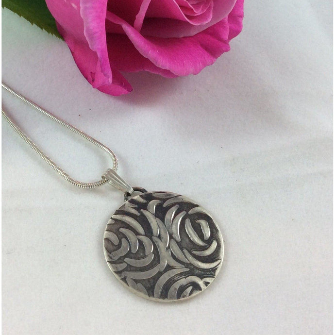 Upcycled Sterling Silver Embossed Pendant-Jewellery-Atelier Crafers