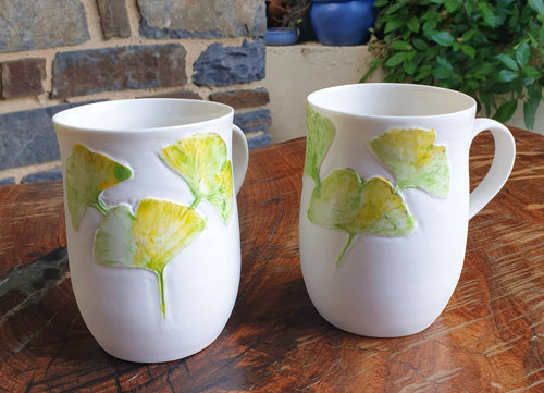 Ginkgo mug - porcelain by Just Jane Ceramics-Homewares-Atelier Crafers