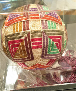 Temari - Sand coloured base with multi coloured squares - Annie Reid
