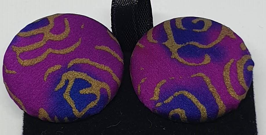 Hand painted silk clip on earrings - pink, purple and gold-Jewellery-Atelier Crafers