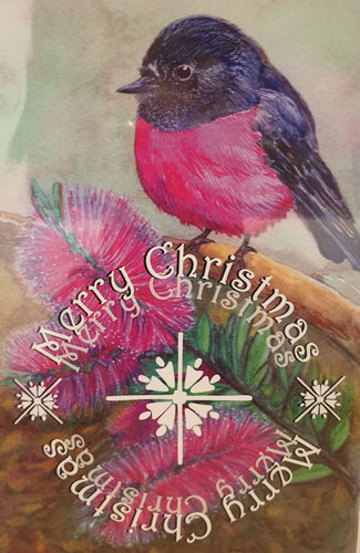 Christmas Card - Pink Robin - Atelier Crafers