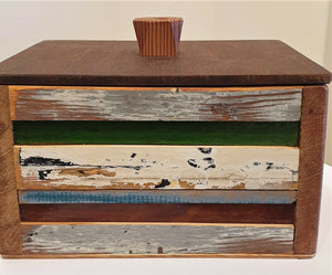 Reclaimed timber and Vintage Glass box with Lid - Stephen Johnson