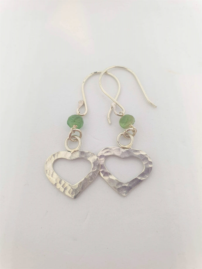 Sterling Silver Hammered Heart and Jade Earrings by Silver Rose Jewellery-Jewellery-Atelier Crafers