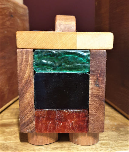 Small Treasure Box- reclaimed timber with red and green heritage glass