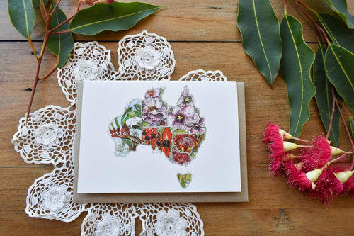 Greeting Card - Australian Map with Floral Emblems - Zinia King-Homewares-Atelier Crafers