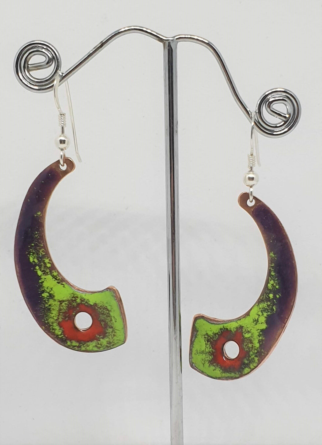 Purple, green and red curved enamel on copper earrings by Erica McNicol-Jewellery-Atelier Crafers