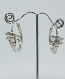 Sterling Silver Daffodil hoop earrings - Silver Rose Jewellery-Jewellery-Atelier Crafers