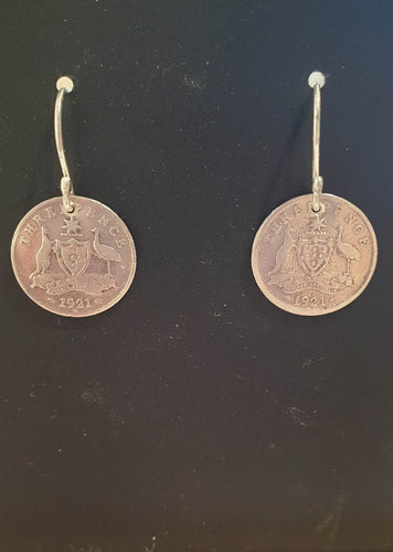 Genuine 1921 Threepence earrings-Jewellery-Atelier Crafers