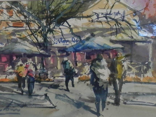 Stirling Main Street -Watercolour by Alan Ramachandran.-Art Gallery-Atelier Crafers