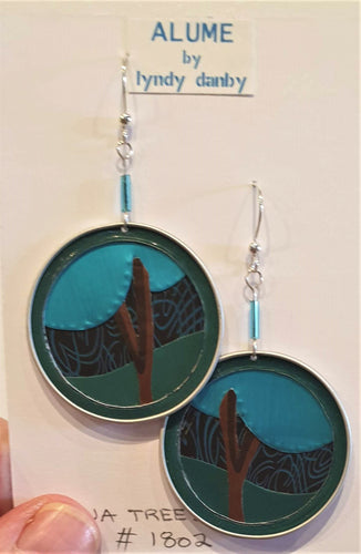Aqua and Emerald upcycled anodised aluminium earrings - Aqua Trees