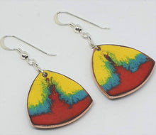 Load image into Gallery viewer, Red, yellow and green enamel earrings by Erica McNicol-Jewellery-Atelier Crafers