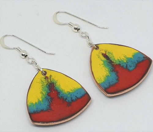 Red, yellow and green enamel earrings by Erica McNicol-Jewellery-Atelier Crafers