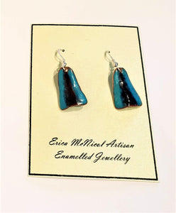Turquoise and black enamel on copper earrings by Erica McNicol