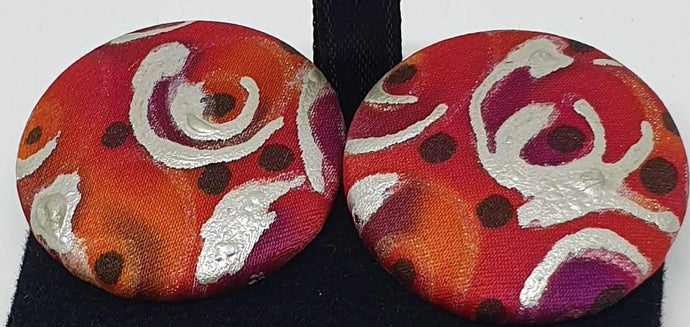 Hand painted silk clip on earrings - red and silver-Jewellery-Atelier Crafers