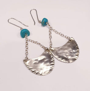 Sterling Silver and Turquoise spoon bowl dangle earrings-Jewellery-Atelier Crafers