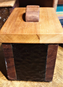 Small Treasure Box- reclaimed timber with red wavy heritage glass