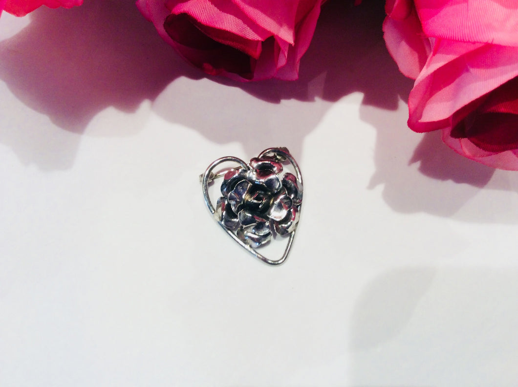 Vintage Sterling Silver Rose Heart Brooch-Jewellery-Atelier Crafers