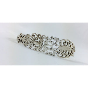 Ornate filigree sterling silver spoon bracelet-Jewellery-Atelier Crafers