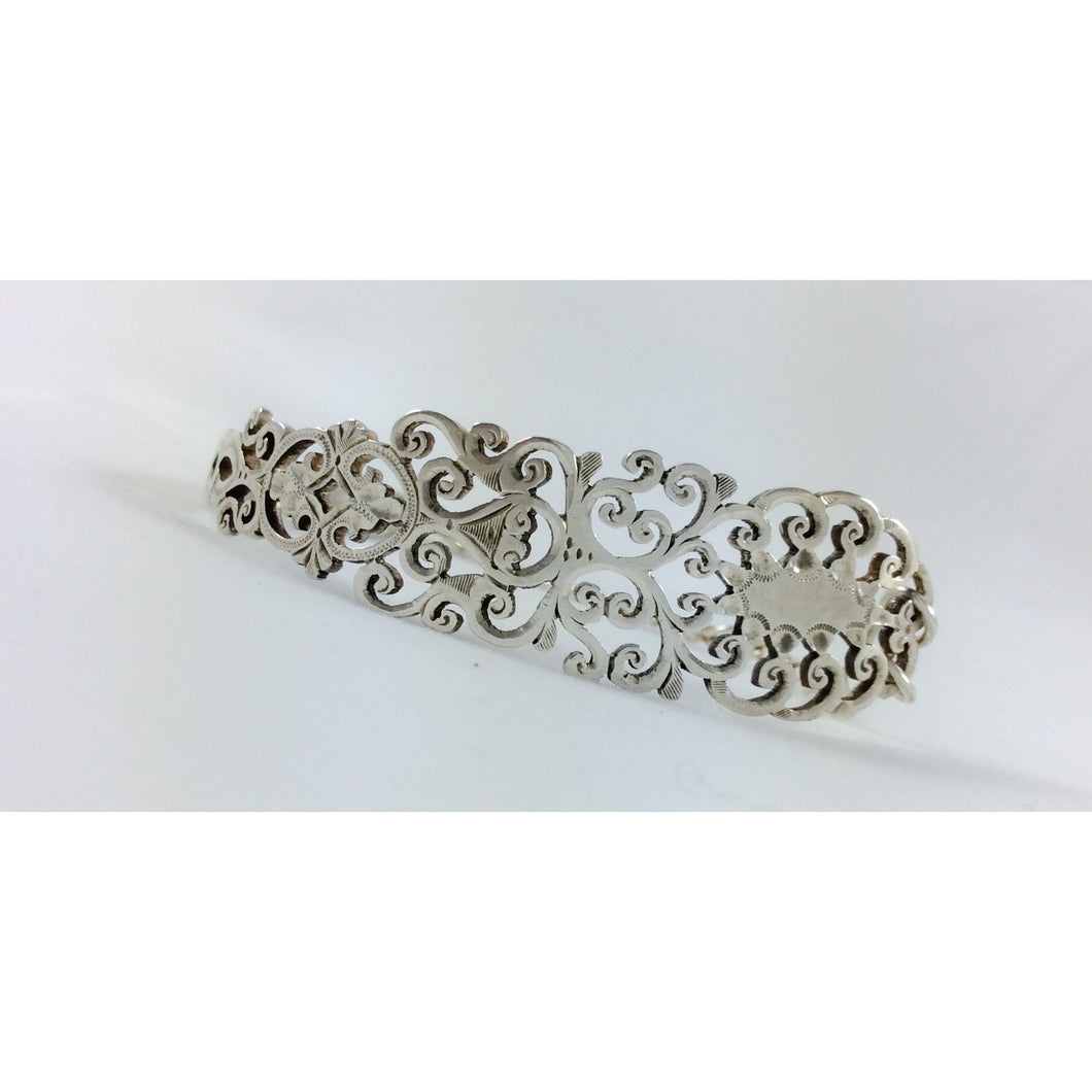 Ornate filigree sterling silver spoon bracelet - Atelier Crafers