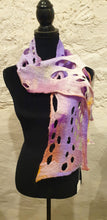 Load image into Gallery viewer, Hand Felted Purple & White Wool Scarf - Ania Herburt-Fashion and Accessories-Atelier Crafers