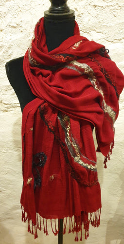 Hand Felted Mohair and Wool on red Thai silk wrap - Elaine Woods-Fashion and Accessories-Atelier Crafers