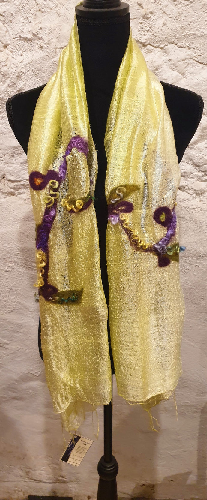 Yellow Thai Silk Scarf with Felted Mohair and Wool Features-Fashion and Accessories-Atelier Crafers