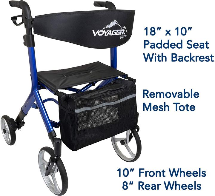 Rollator with large wheels