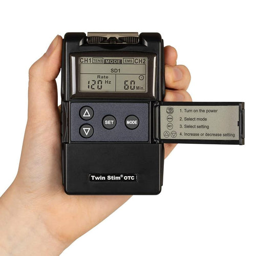 Over the counter Twin Stim Digital TENS and EMS muscle stimulator