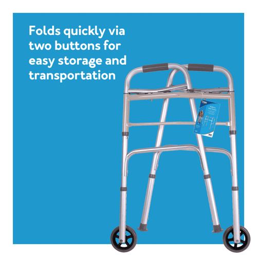 Folds quickly via two buttons for easy storage and transportation