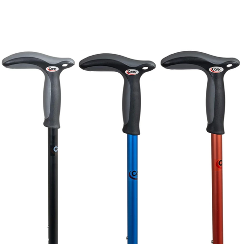 Black hiking cane, blue hiking cane, red hiking cane