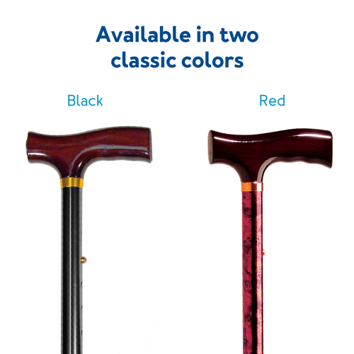 Black and red folding cane