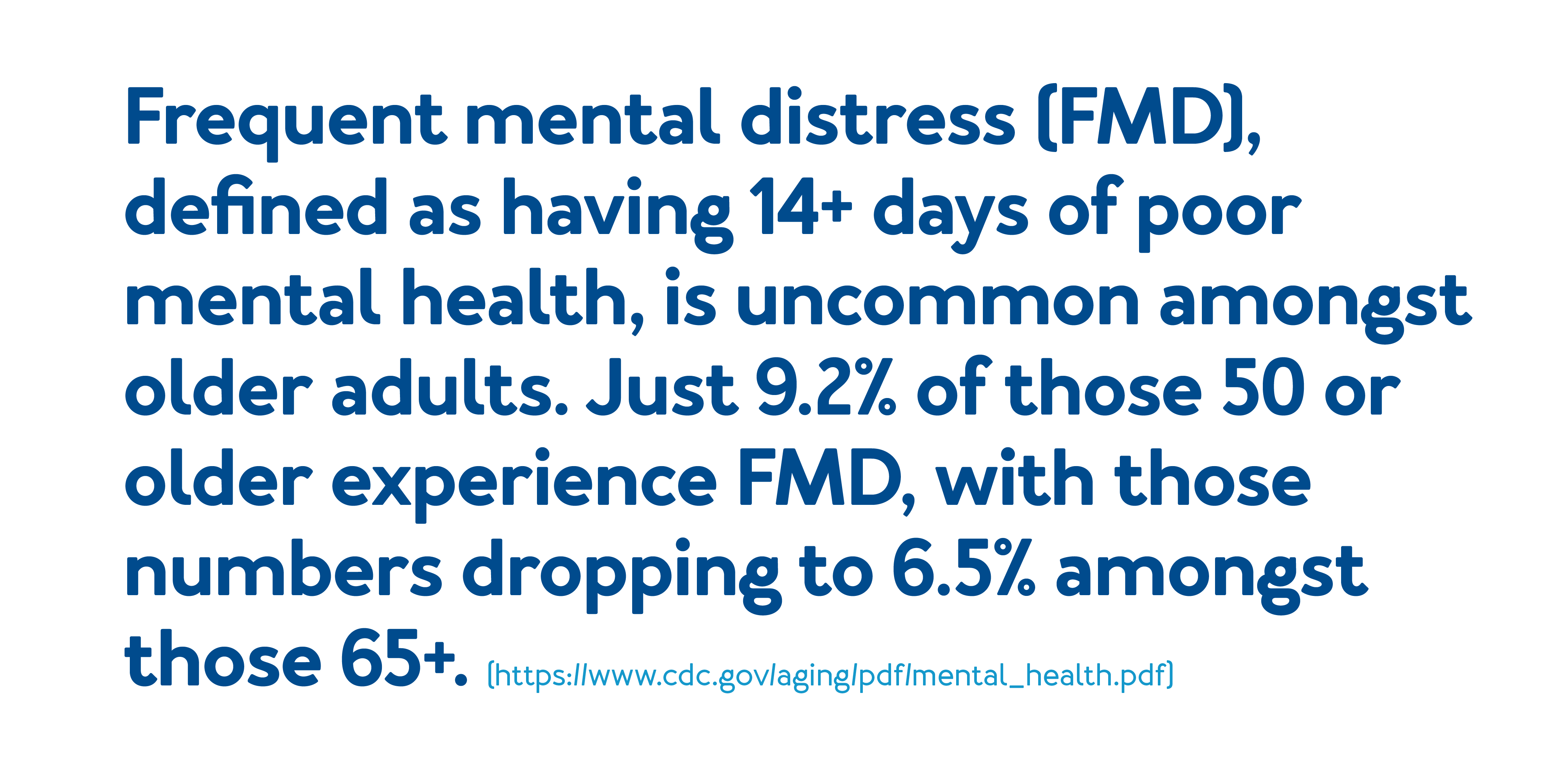 Frequent mental distress (FMD), defined as having 14+ days of poor mental health, is uncommon amongst older adults. Just 9.2% of those 50 or older experience FMD, with those numbers dropping to 6.5% amongst those 65+.