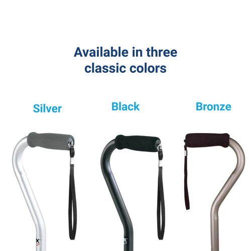Silver walking cane, black walking cane, bronze walking cane