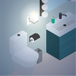 Installing a night light can provide adequate light at night for added bathroom safety.