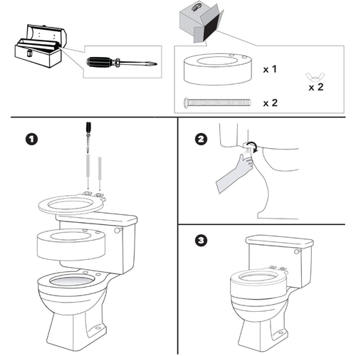 Rise up toilet seat installation