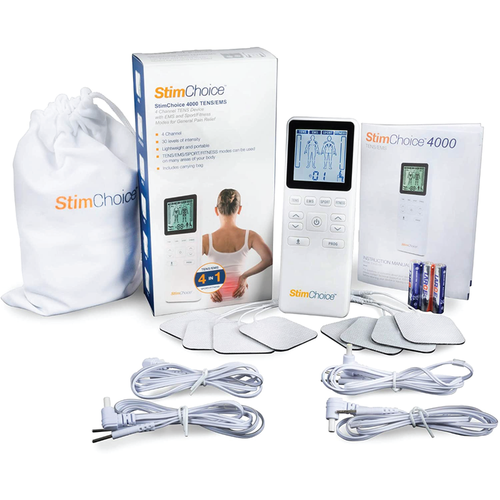 StimChoice 4000 TENS EMS muscle toner with TENS unit pads, lead wires, and carrying bag