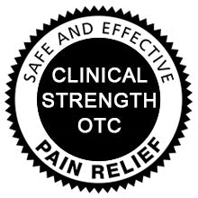 Clinical strength over-the-counter pain relief. Safe and effective.