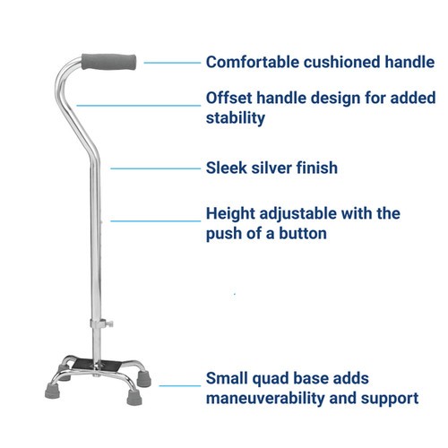 Height adjustable quad cane