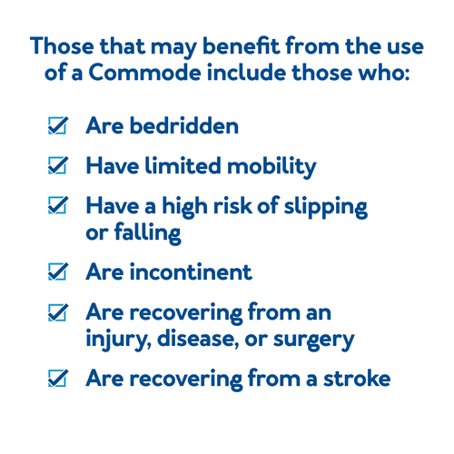 Those that may benefit from the use of a commode include those who are bedridden, have limited mobility, have a high risk of slipping or falling, are incontinent, are recovering from an injury, disease, or surgery, or are recovering from a stroke.