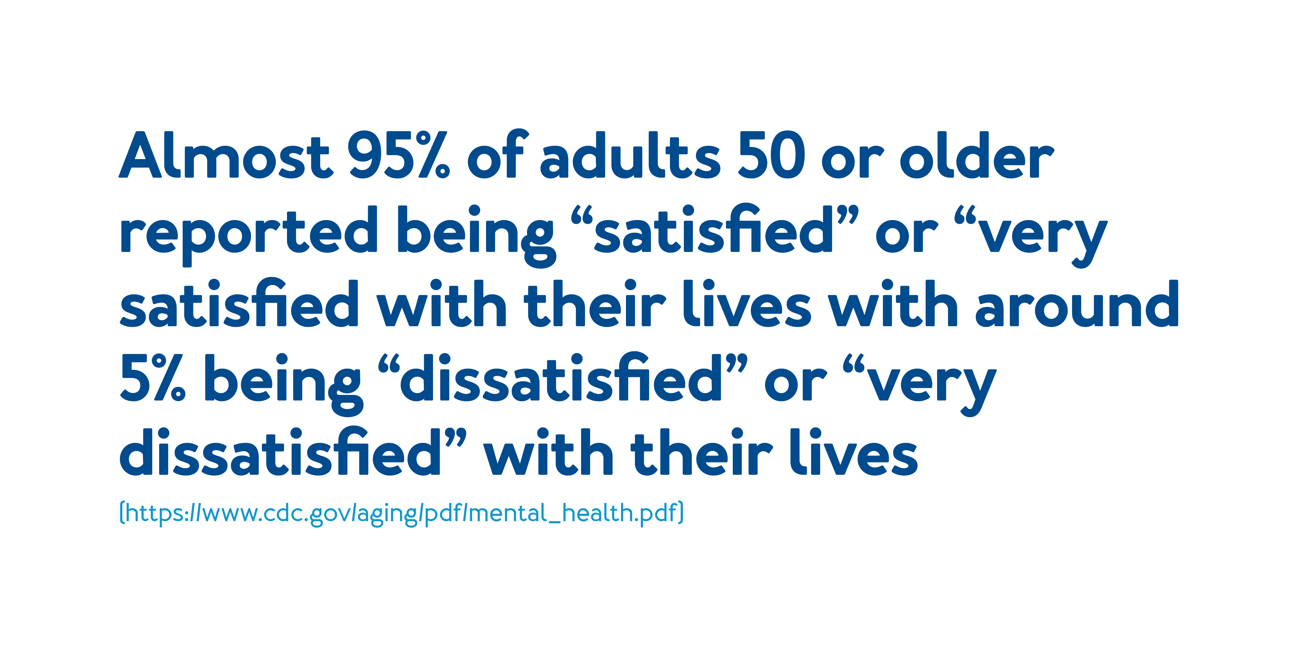 """Almost 95% of adults 50 or older reported being """"satisfied"""" or """"very satisfied with their lives with around 5% being """"dissatisfied"""" or """"very dissatisfied"""" with their lives."""