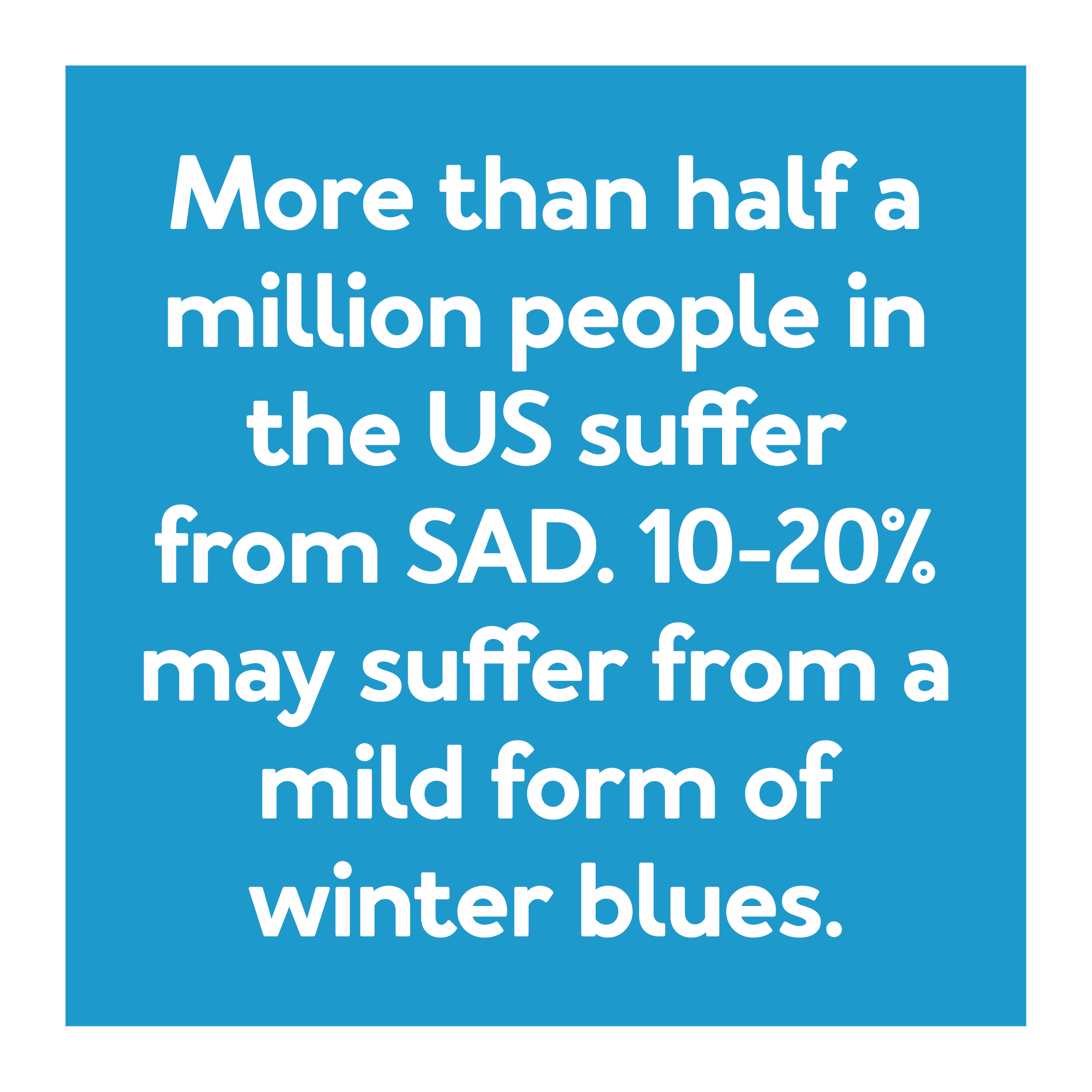 More than half a million people in the U.S. suffer from SAD. 10-20% may suffer from a mild form of winter blues